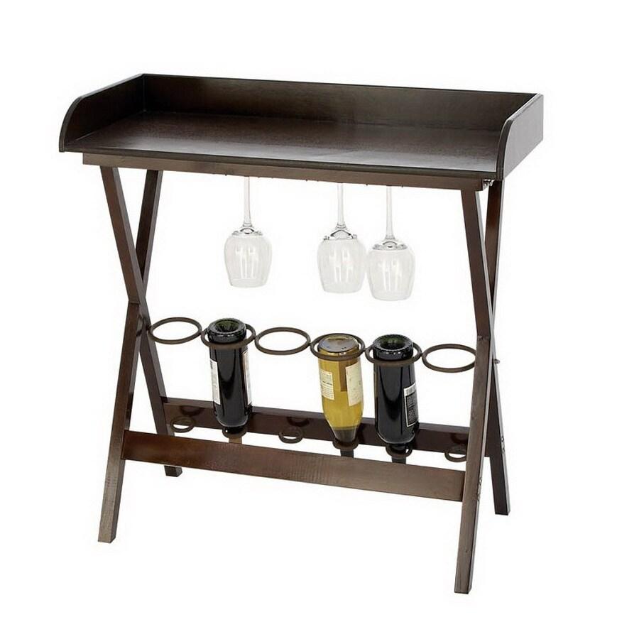 Woodland Imports 6-Bottle Royal Black and Brown Freestanding Floor Wine Rack