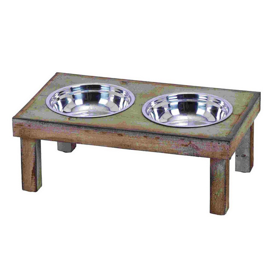 Woodland Imports Stainless Steel Double Basin Pet Bowl