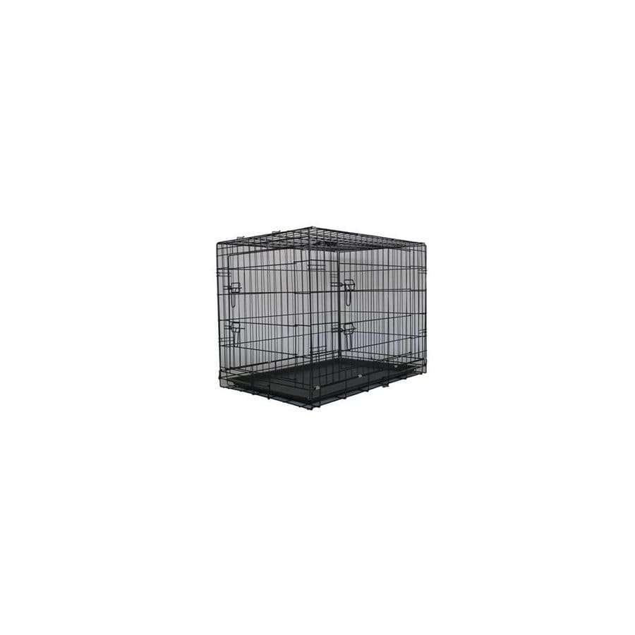Go Pet Club 3.33-ft x 2.33-ft x 2.5-ft Antitrust Black Collapsible Plastic and Wire Pet Crate