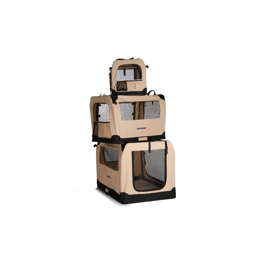 Great Paw 2.66-ft x 1.91-ft x 1.91-ft Beige Collapsible Pet Crate