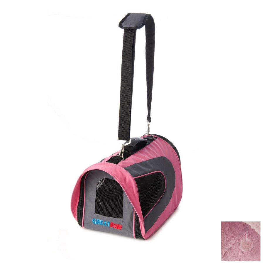 Great Paw 1.16-ft x 0.75-ft x 0.75-ft Pink Collapsible Pet Carrier