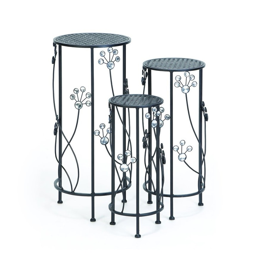Woodland Imports 3-Piece 28-in Metallic Outdoor Round Plant Stand Set