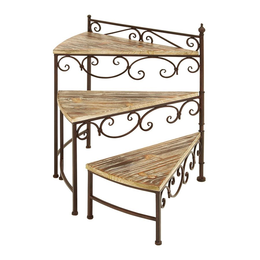 Woodland Imports Rotating Stair 26-in Metallic/Copper Brown Outdoor Wood Plant Stand