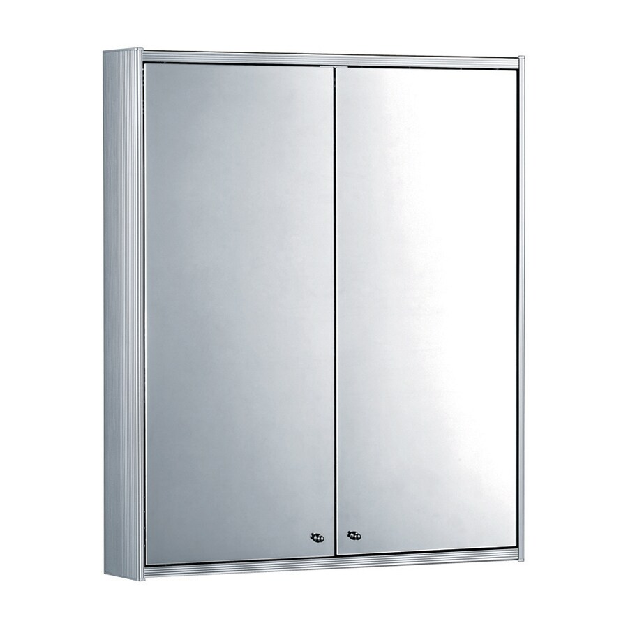 Whitehaus Collection 23.63-in x 27.5-in Rectangle Surface Mirrored Aluminum Medicine Cabinet