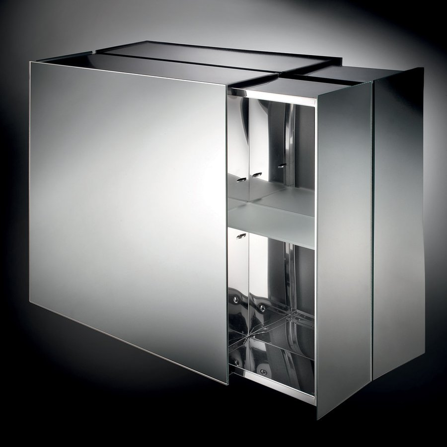WS Bath Collections Linea 24.4-in x 22-in Rectangle Surface Mirrored Stainless Steel Medicine Cabinet