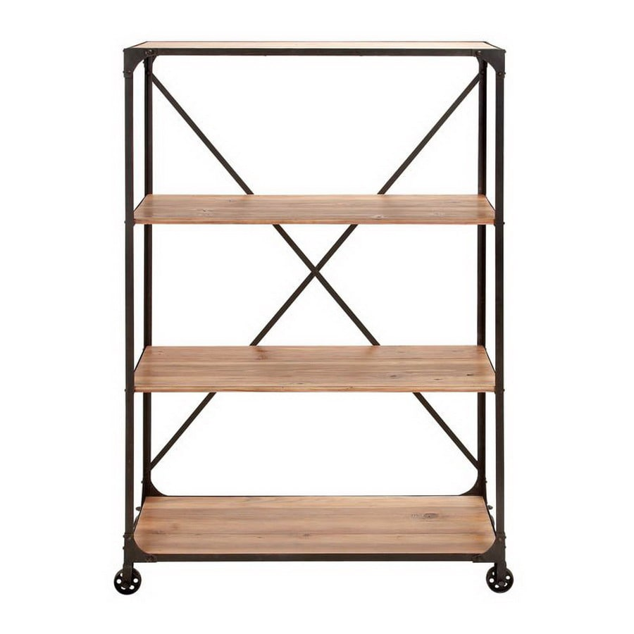 Go Home Black Industrial Kitchen Cart At Lowes Com: Shop Woodland Imports 63-in H X 40-in W X 18-in D 4-Tier