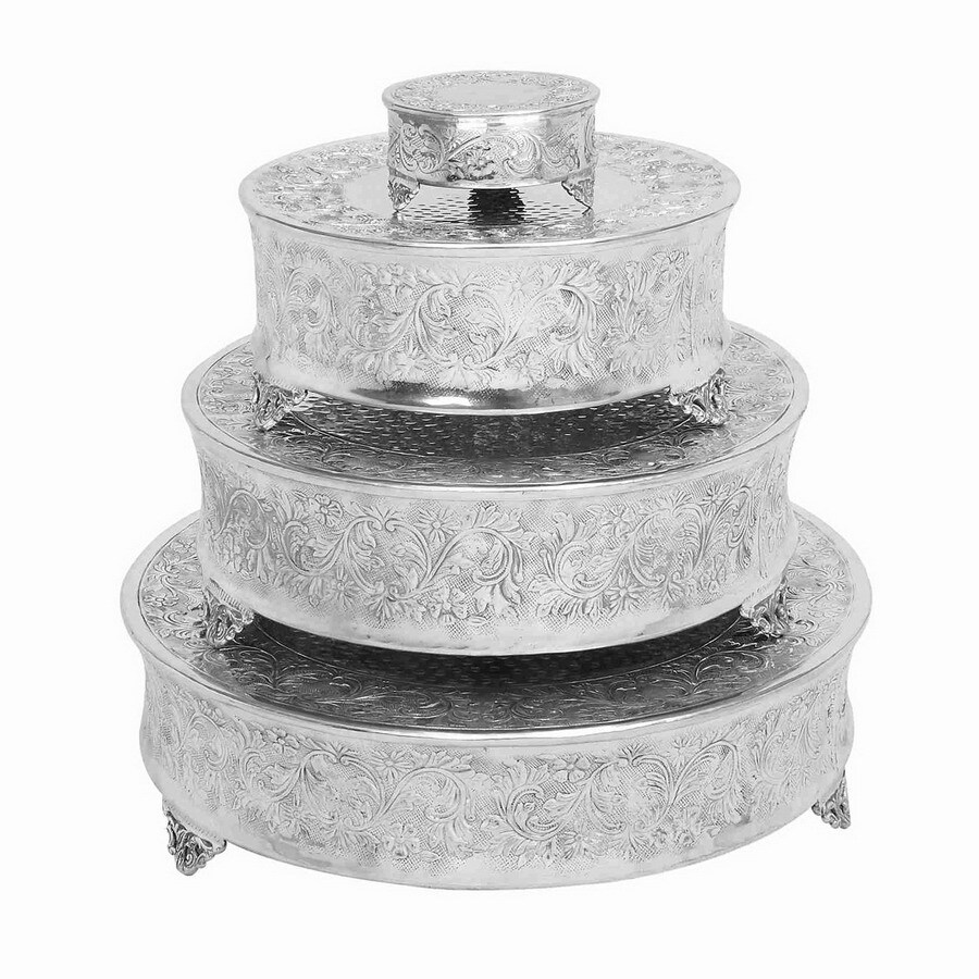 Woodland Imports 4-Pack Silver Aluminum Round Cake Stands