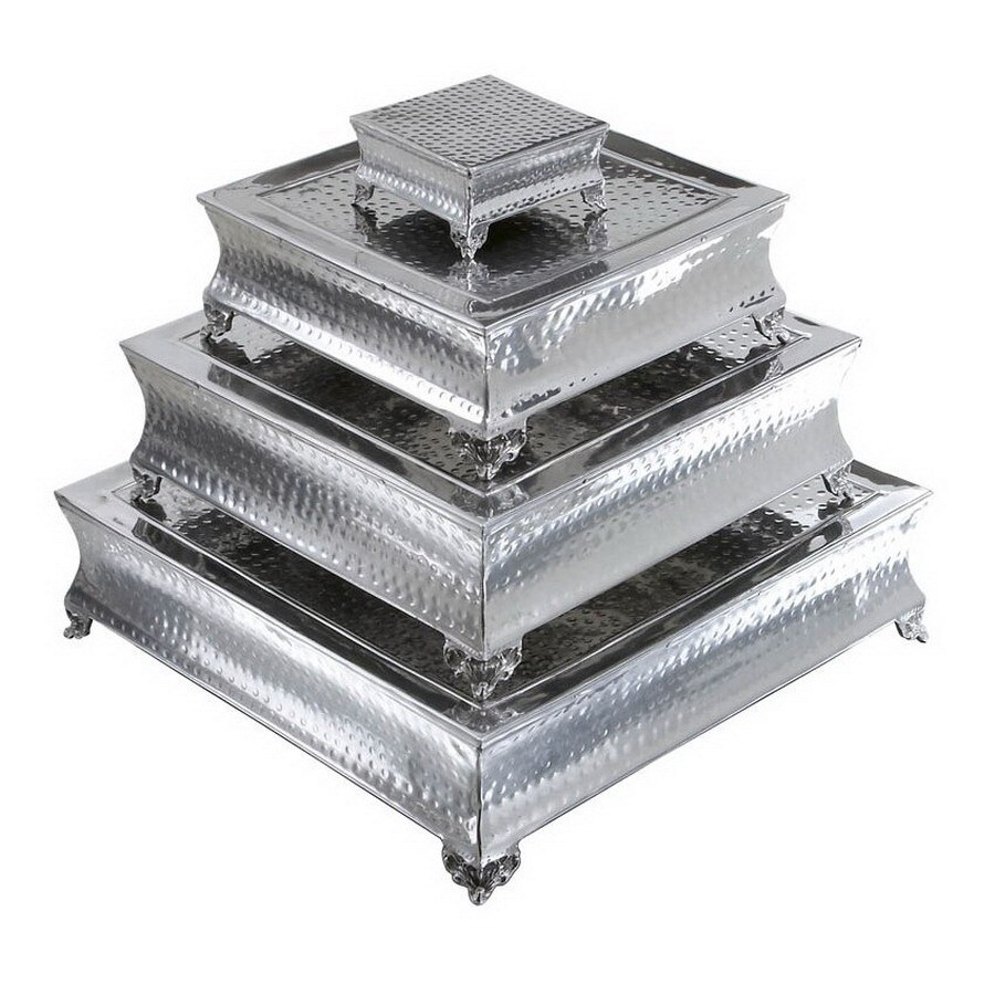 Woodland Imports 4-Pack Silver Aluminum Square Cake Stands