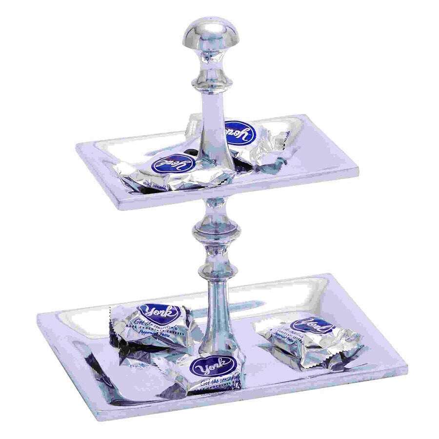 Woodland Imports Aluminum 2-Tier Pedestal Rectangle Candy Tray