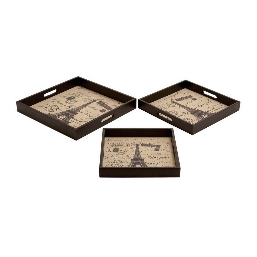 Woodland Imports Wood Square Serving Tray