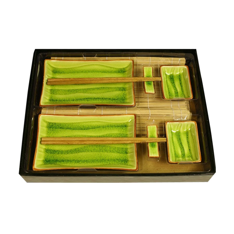 Firefly Home Collection Divine 14-in x 12-in Green and Brown Divided Ceramic Rectangle Serving Tray with Plate Set