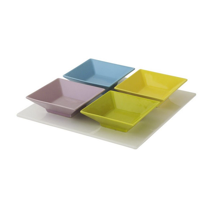 Firefly Home Collection Vivre 14-in x 14-in Ceramic Square Serving Tray with Plate Set