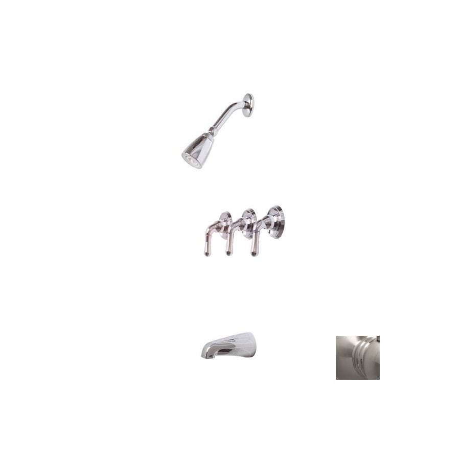 Premier Faucet Sanibel Brushed Nickel 3-Handle Bathtub and Shower Faucet with Single Function Showerhead