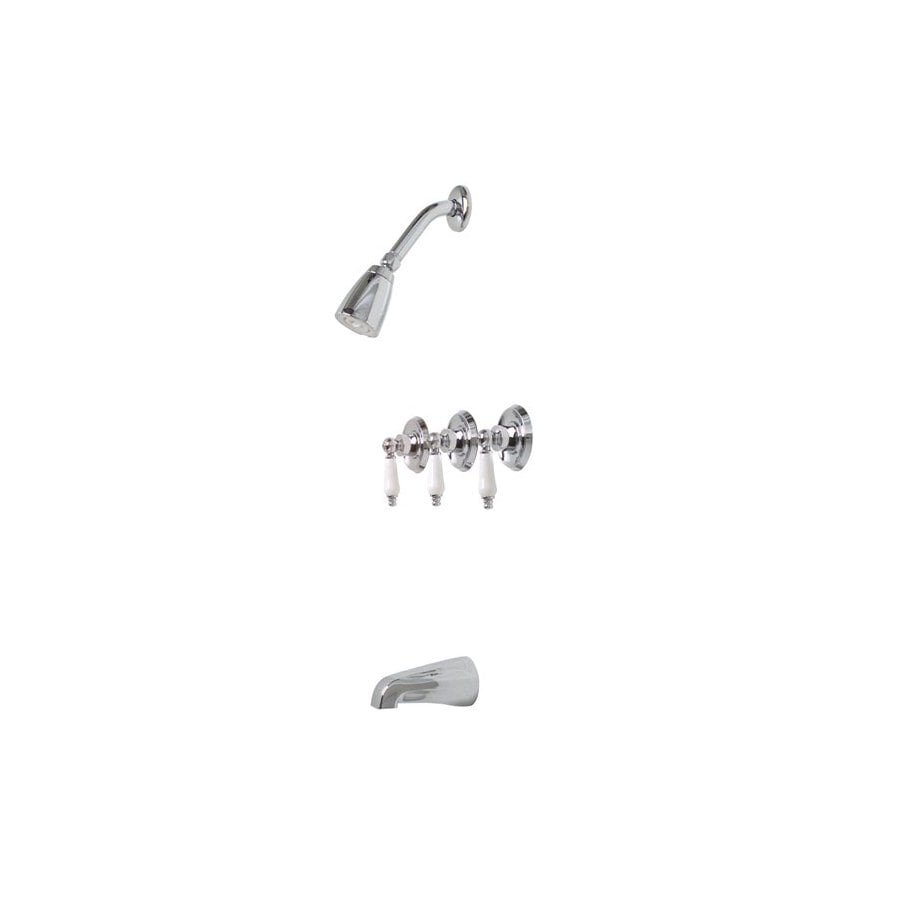 Premier Faucet Ashbury Chrome 3-Handle Bathtub and Shower Faucet with Single Function Showerhead