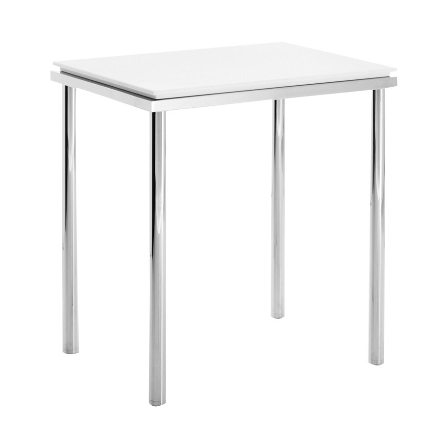 WS Bath Collections Complements Matte White/Polished Chrome 16.7-in Small Stool