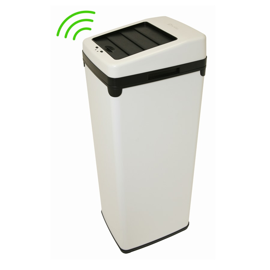 iTouchless 14-Gallon White Indoor Garbage Can