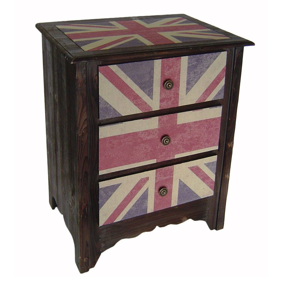 Cheung's Union Jack Brown Composite Nightstand