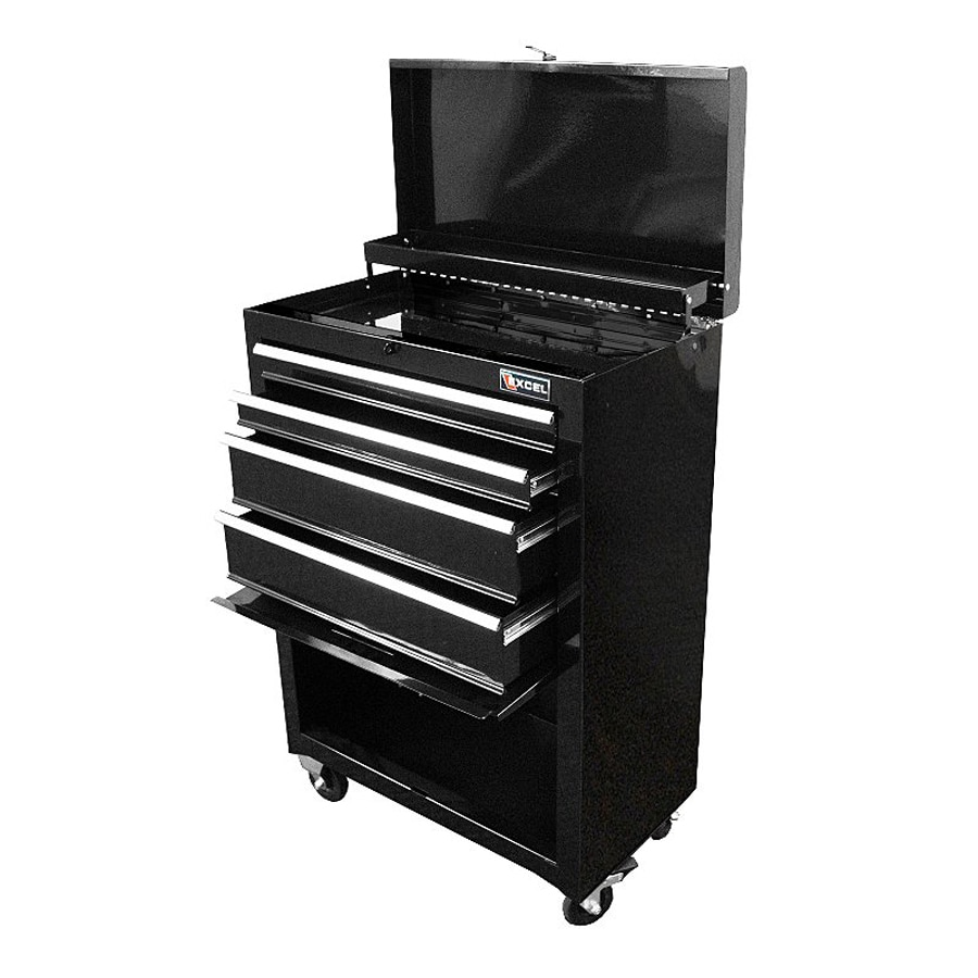 Excel 34.4-in x 22-in 4-Drawer Ball-Bearing Steel Tool Cabinet (Black)