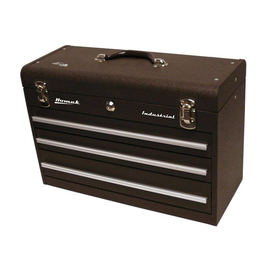 Homak 20.25-in 3-Drawer Brown Steel Lockable Tool Box