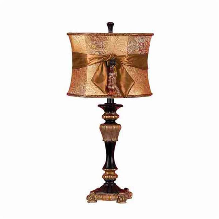 Woodland Imports 26-in Black/Gold Indoor Table Lamp with Fabric Shade