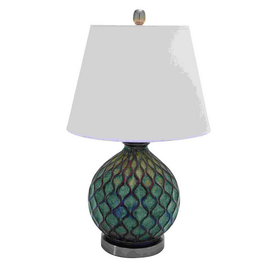 shop woodland imports 26 in teal indoor table lamp with. Black Bedroom Furniture Sets. Home Design Ideas
