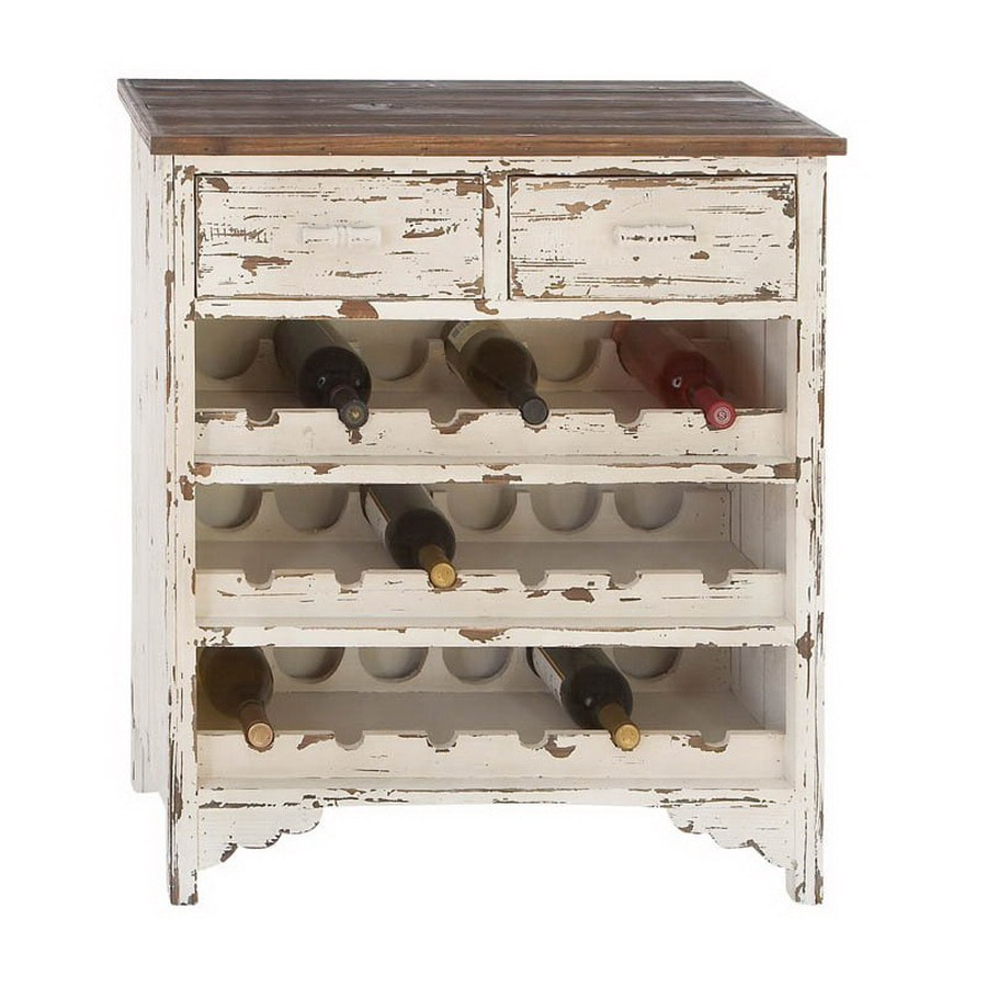Woodland Imports Classic Ivory and Brown 18-Bottle Wine Cabinet