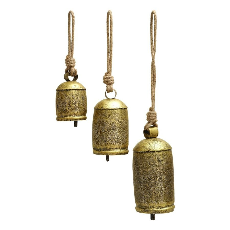 Woodland Imports 22-in -in Brass Metal Bell Wind Chime