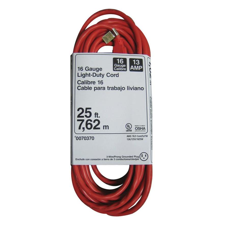 Utilitech 25-ft 13-Amp 16-Gauge Orange Outdoor Extension Cord