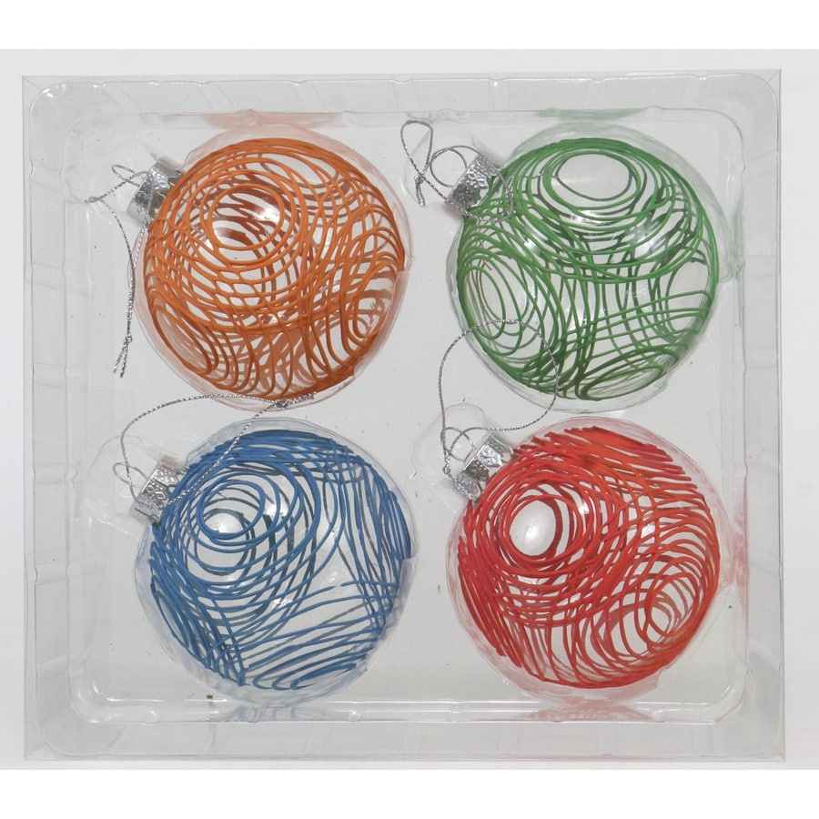 Holiday Living 4-Pack Assorted Color Design Christmas Bulb Ornament Set