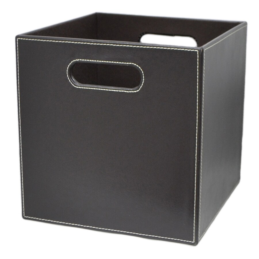 allen + roth 10.69-in W x 11-in H x 10.69-in D Brown Faux Leather Milk Crate