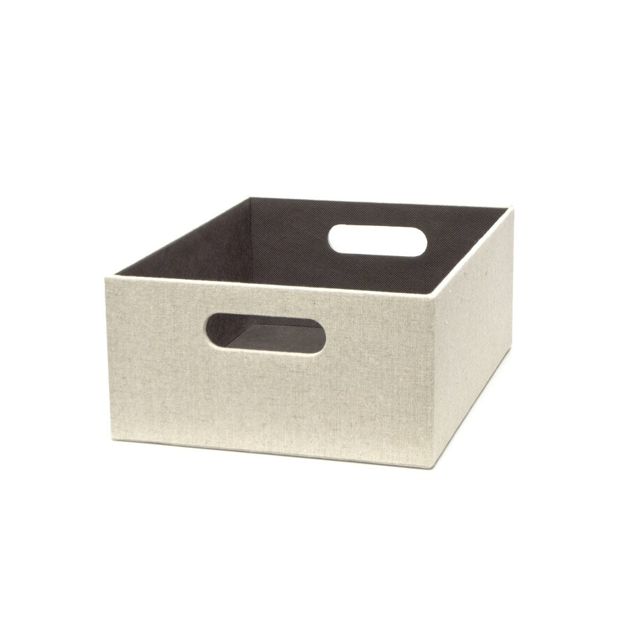 Shop allen roth w x 5 5 in h x d beige for Beige bathroom bin