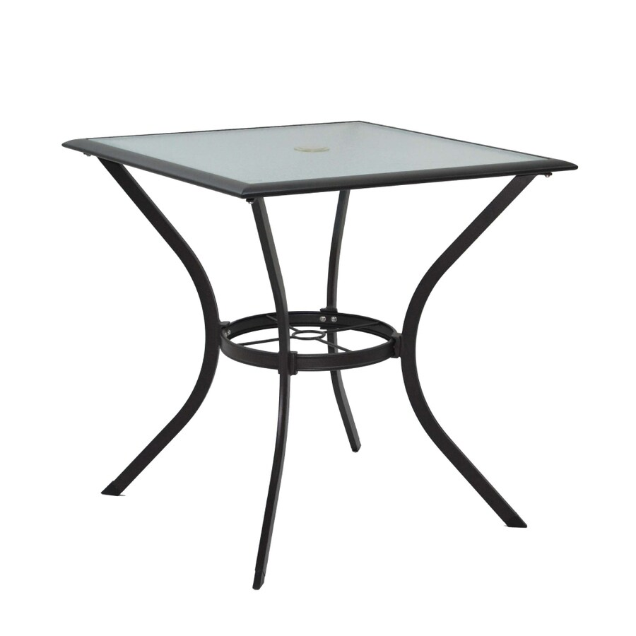 Garden Treasures Eastmoreland Glass-Top Textured Brown Square Patio Bistro Table