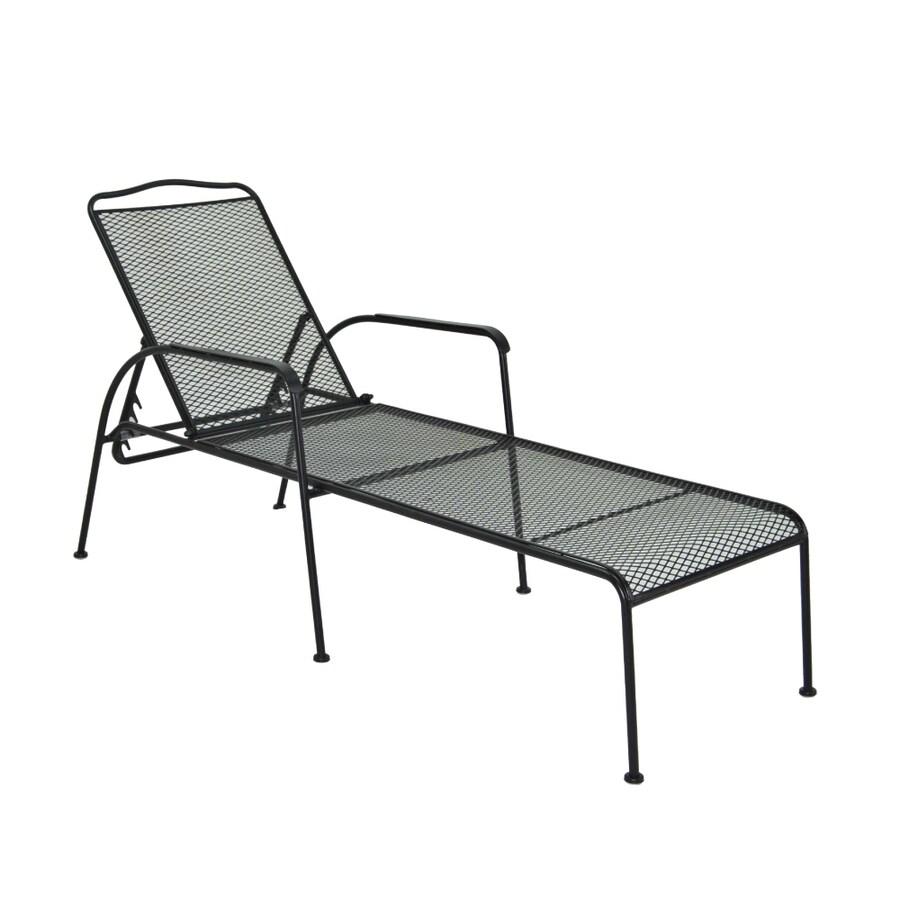 Garden Treasures Davenport Mesh Steel Single Patio Chaise Lounge