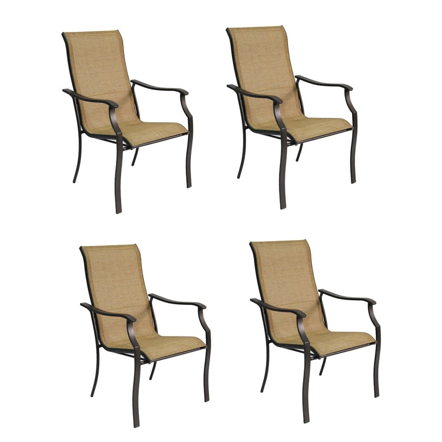 Garden Treasures Set Of 4 Eastmoreland Textured Brown Sling Steel Stackable Patio Dining Chair