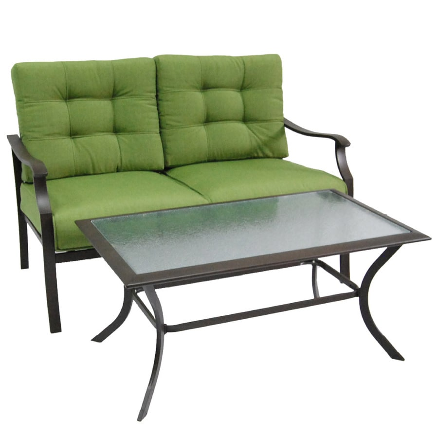 Garden Treasures 2-Piece Eastmoreland Green Steel Patio Loveseat and Coffee Table Set