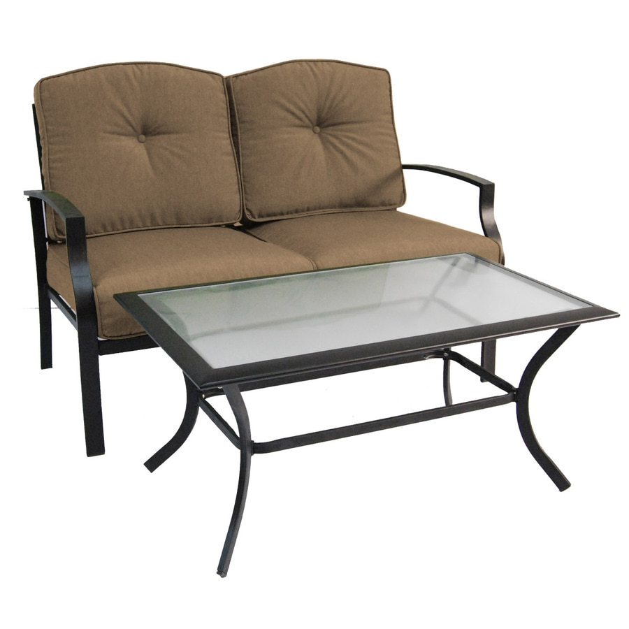 Shop garden treasures 2 piece cascade creek black steel patio loveseat and coffee table set at Patio coffee tables