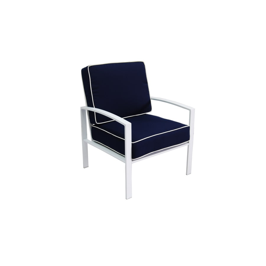 Allen Roth Ocean Park 2 Count White Metal Patio Conversation Chair With Cushion