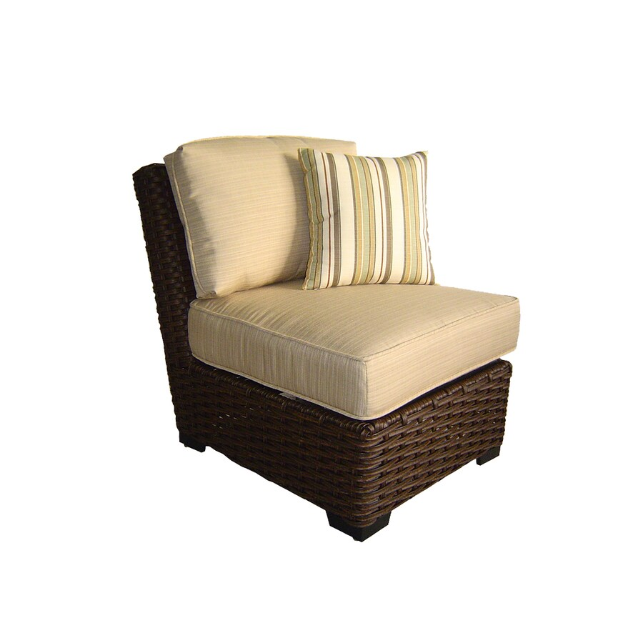allen + roth Blaney Textured Black Wicker Cushioned Patio Chair