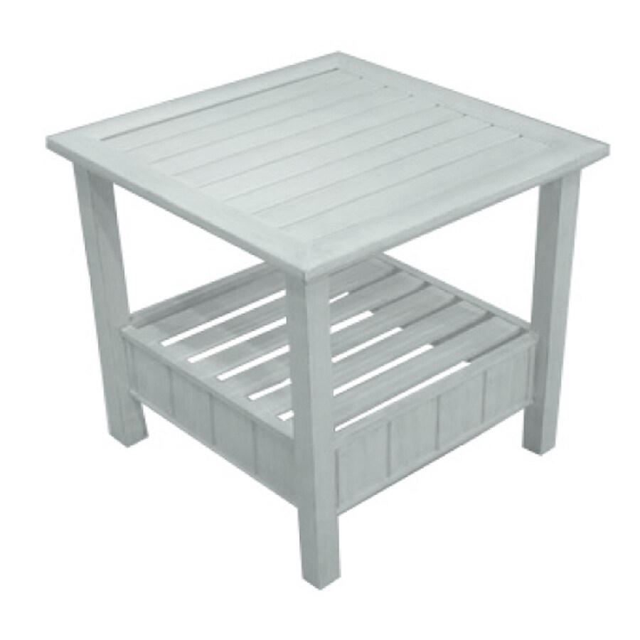 Garden Treasures Chapel Cove 22-in x 22-in Ivory Extruded Aluminum Square Patio End Table