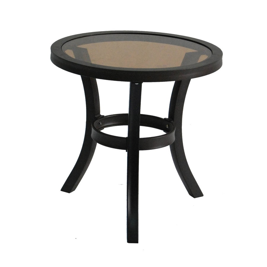 allen + roth Belsay 19.88-in x 19.88-in Black Steel Round Patio End Table