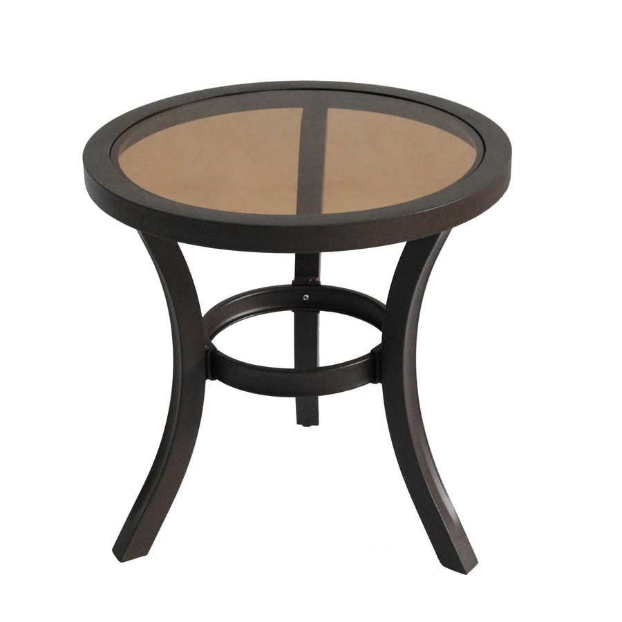 allen + roth Belsay 19.88-in x 19.88-in Dark Brown Steel Round Patio End Table