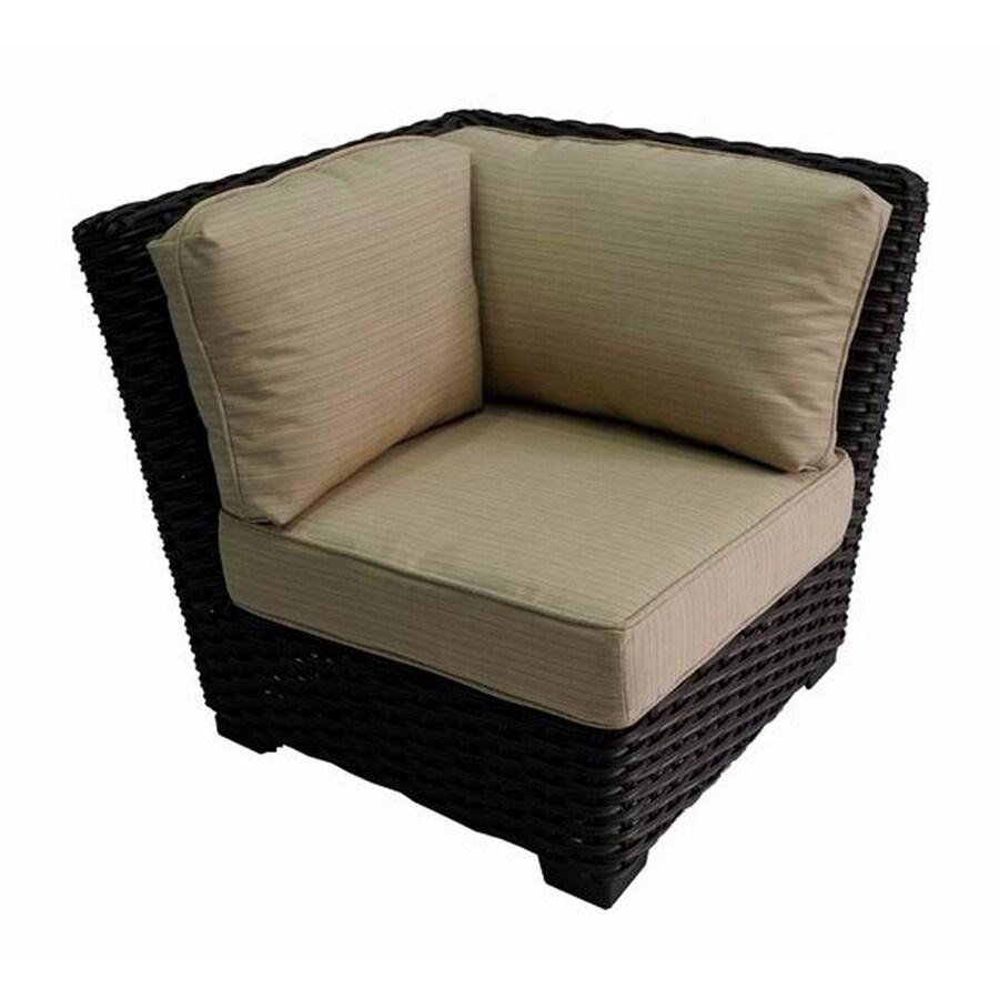 allen + roth Blaney Brown Steel Patio Conversation Chair