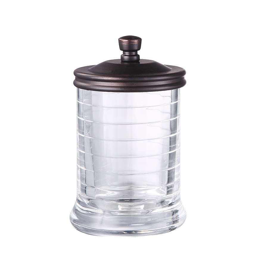 allen + roth Aldercy Clear Glass with Oil Rubbed Bronze Metal Bathroom Canister