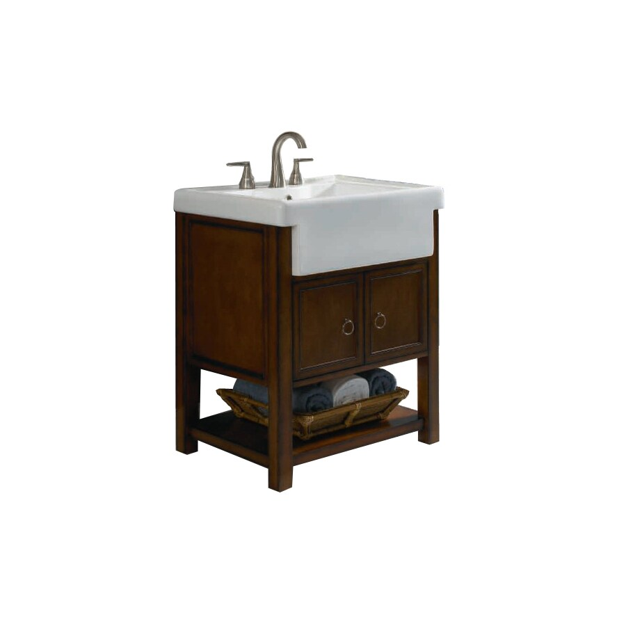 allen + roth Mitchell 26-1/2-in x 21-in Sable Drop-In Single Sink Bathroom Vanity with Vitreous China Top