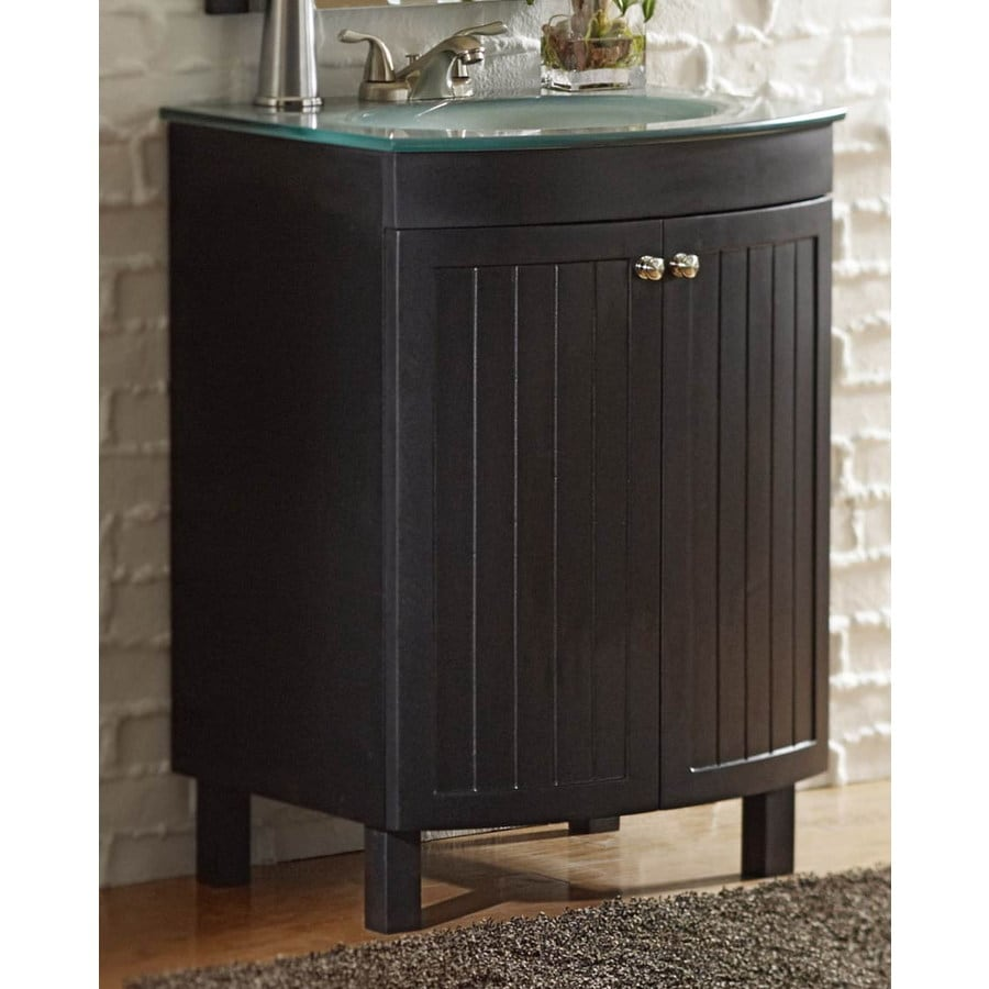 Style Selections Cavanaugh 24-in x 20-1/2-in Espresso Integral Single Sink Bathroom Vanity with Glass Top