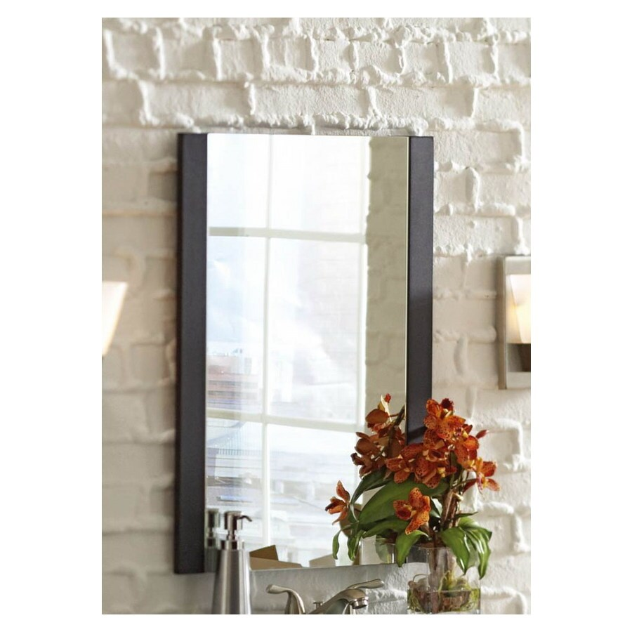 Style Selections Cavanaugh 19.625-in W x 27.5-in H Espresso Rectangular Bathroom Mirror