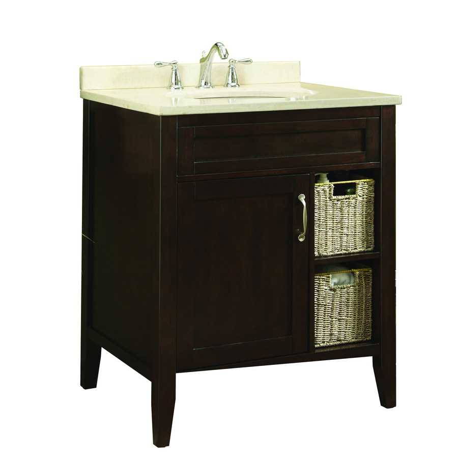 allen + roth Tanglewood 30-in x 23.75-in Espresso Undermount Single Sink Bathroom Vanity with Natural Marble Top
