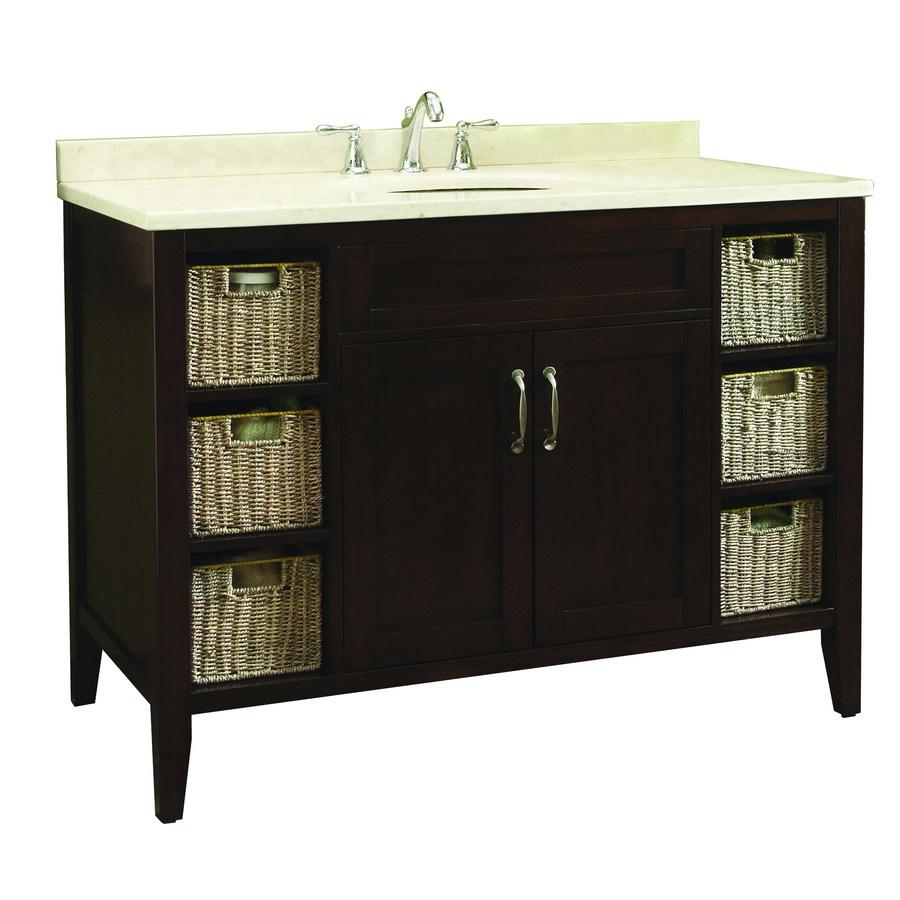 allen + roth Tanglewood 48-in x 23-3/4-in Espresso Undermount Single Sink Bathroom Vanity with Natural Marble Top