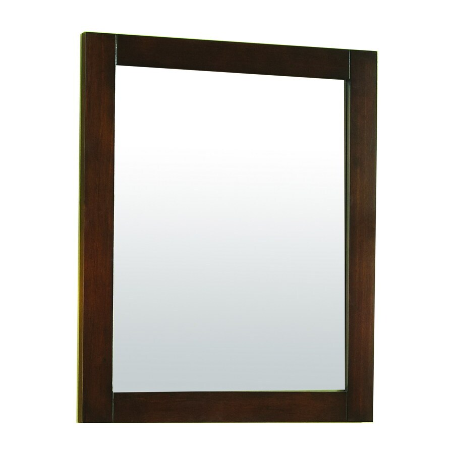allen + roth Tanglewood 20-in W x 24-in H Espresso Rectangular Bathroom Mirror