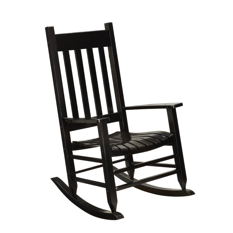 Garden Treasures Black Wood Slat Seat Outdoor Rocking Chair